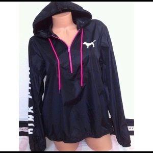 PINK Victoria Secret black windbreaker rain jacket